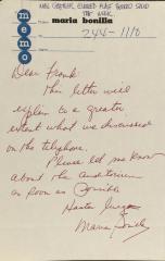 Correspondence from Maria Bonilla
