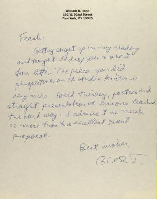 Correspondence from William K. Tabb