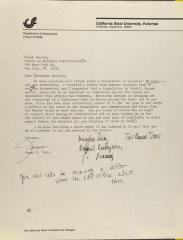Correspondence from California State University, Fullerton