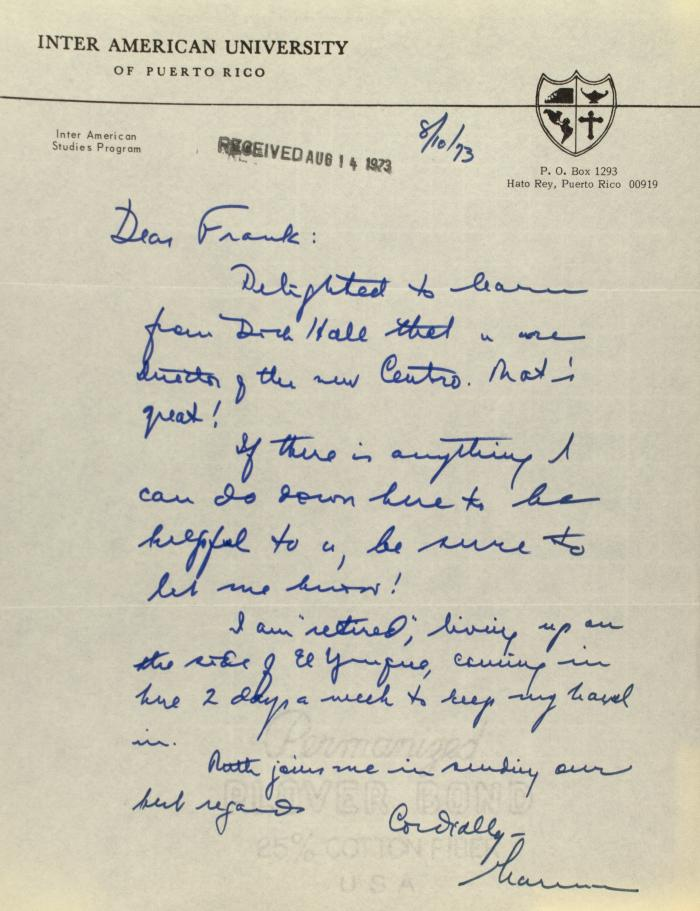 Correspondence from the Inter American University of Puerto Rico