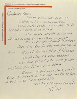 Correspondence from the Concilio de Organizaciones Puertorriquenas del Oeste / Western Region Puerto Rican Council