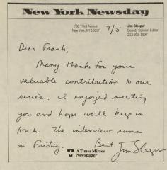 Correspondence from Newsday