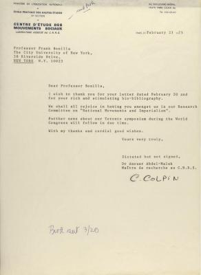 Correspondence from Centre D'Etude Des Mouvement Sociaux
