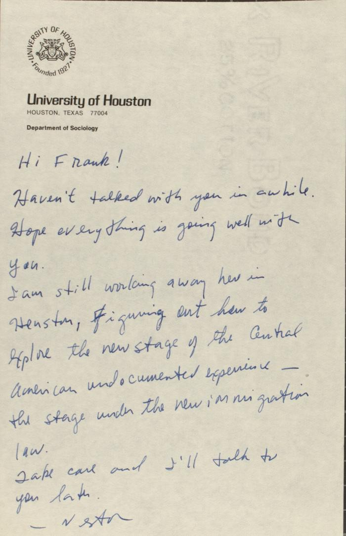 Correspondence from the University of Texas at Houston