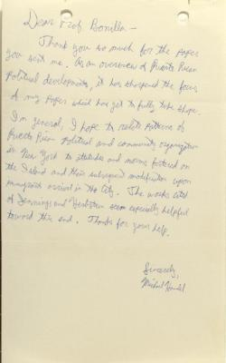 Correspondence from Michael Handel