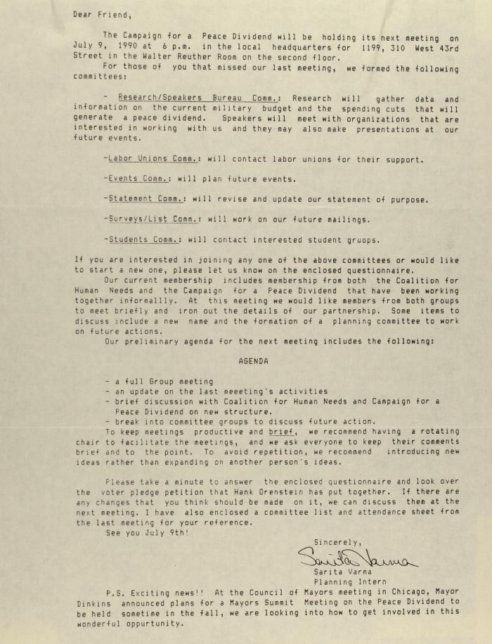 Correspondence from A Campaign for a Peace Dividend