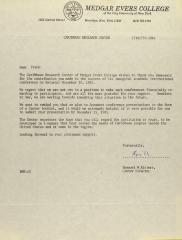 Correspondence from the Caribbean Research Center of Medgar Evers College