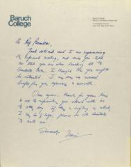 Correspondence from Baruch College