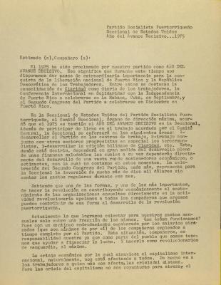 Correspondence from Partido Socialista Puertorriquenos