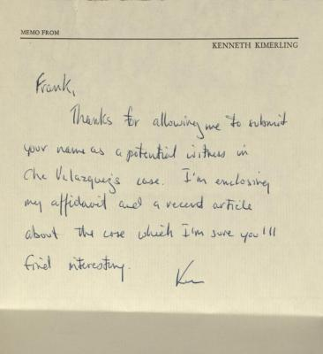 Correspondence from Kenneth Kimerling