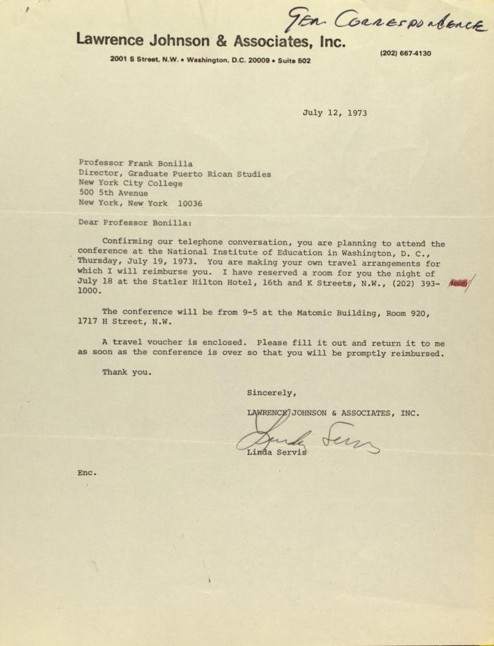 Correspondence from Lawrence Johnson & Associates