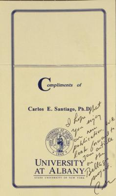 Correspondence from Carlos E. Santiago