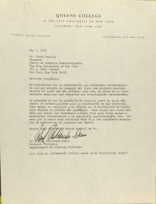 Correspondence from Manuel Maldonado-Denis