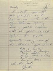 Correspondence from Ruth S. Hamilton