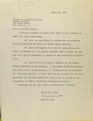 Correspondence to President Jacqueline Wexler of Hunter College