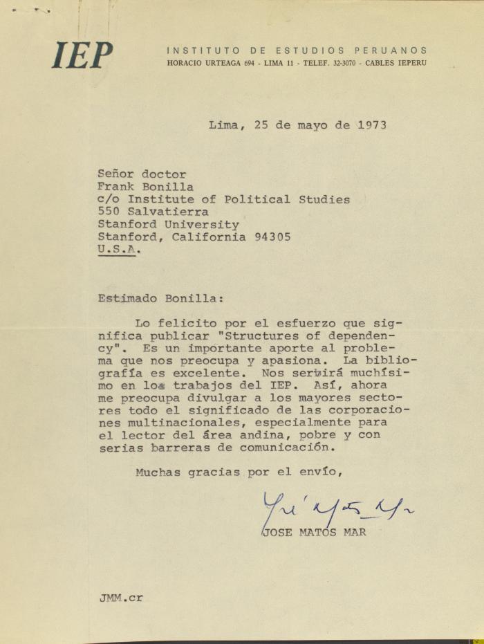 Correspondence from Instituto de Estudios Peruanos (Institute of Peruvian Studies)