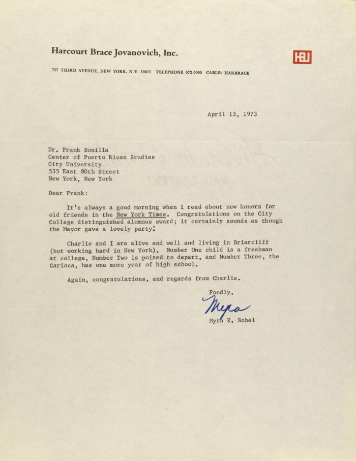 Correspondence from Harcourt Brace Jovanovich