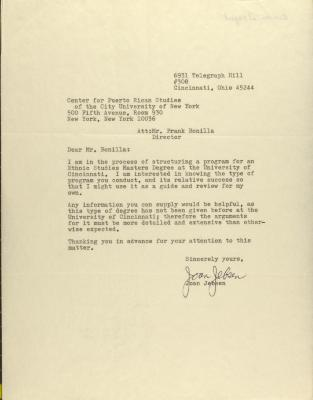 Correspondence from Joan Jebson