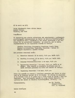 Correspondence to Queens College