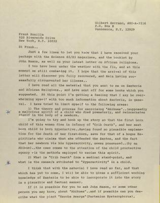 Correspondence from Gilbert Serrano