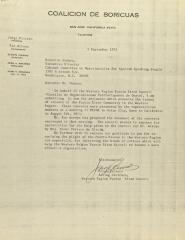 Correspondence from Coalicion de Boricuas