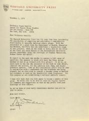Correspondence from Harvard University Press