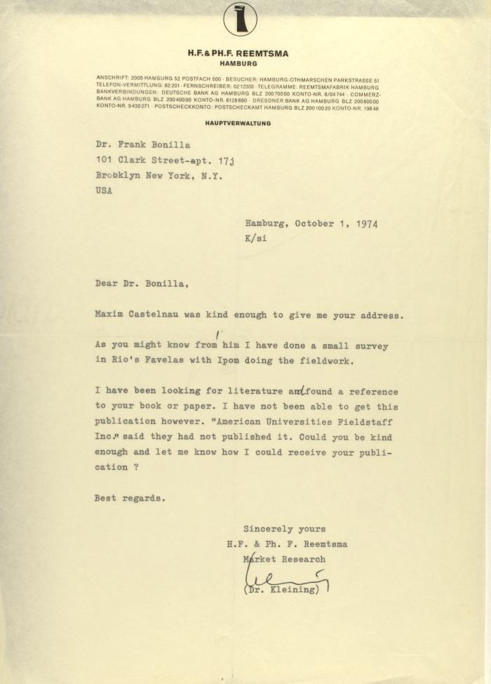 Correspondence from H.F. & Ph. F. Reemtsma