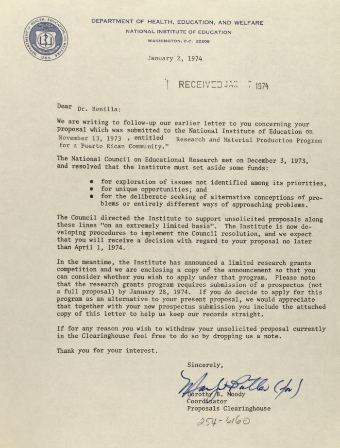 Correspondence from the Dept. of Health, Education, and Welfare, National Institute of Education