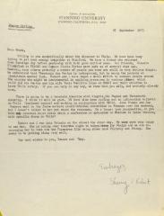 Correspondence from Stanford University