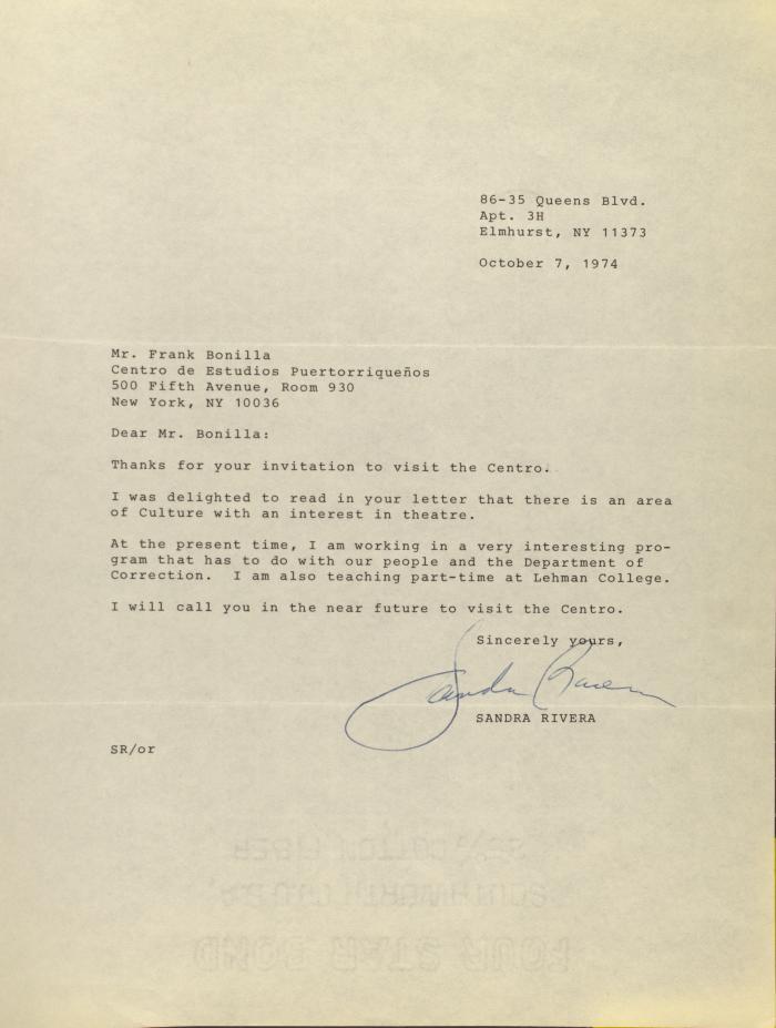 Correspondence from Sandra Rivera