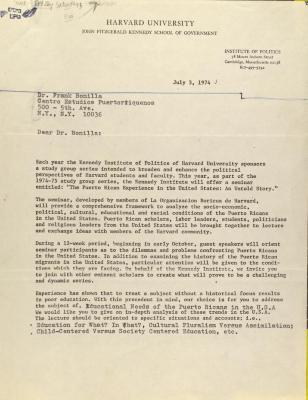Correspondence from Harvard University