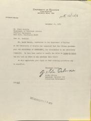 Correspondence from the University of Houston