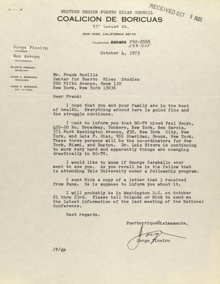 Correspondence from the Coalicion de Boricuas