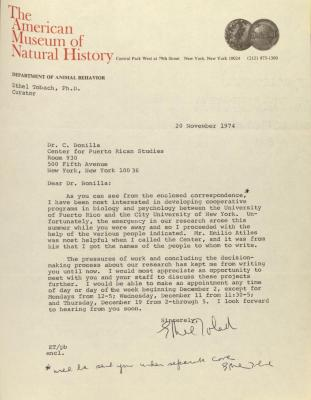Correspondence from the American Museum of Natural History
