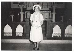 Mary Camacho receiving the Pope Pius X Award