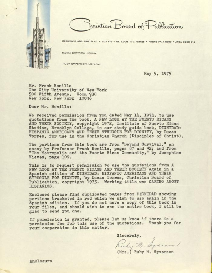Correspondence from Christian Board of Publication
