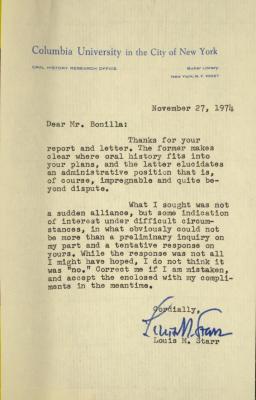 Correspondence from Columbia University