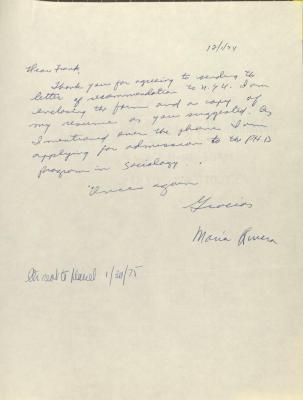 Correspondence from Maria Rivera