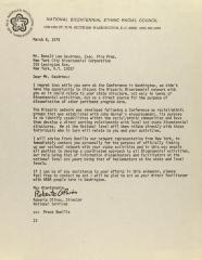 Correspondence from National Bicentennial Ethnic Racial Council