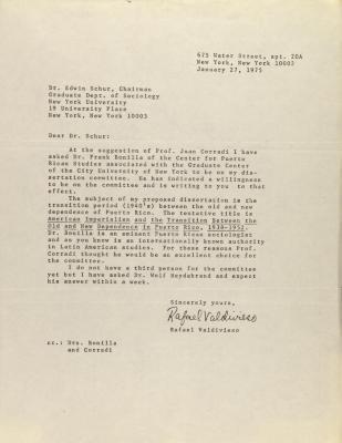 Correspondence from Rafael Valdivieso