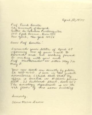 Correspondence from Alma Maria Garcia