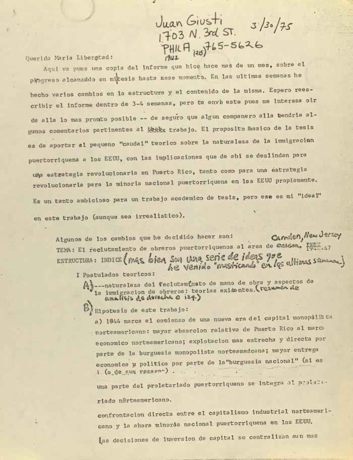 Correspondence from Juan Giusti