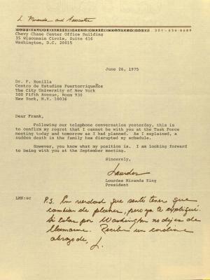 Correspondence from L. Miranda and Associates