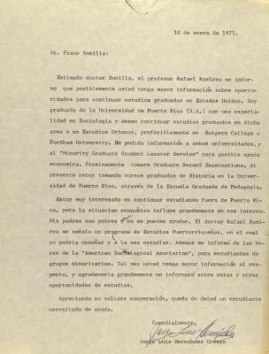 Correspondence from Jorge Luis Hernandez Crespo