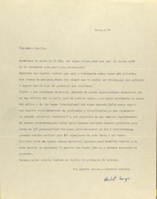 Correspondence from Herbert Soya