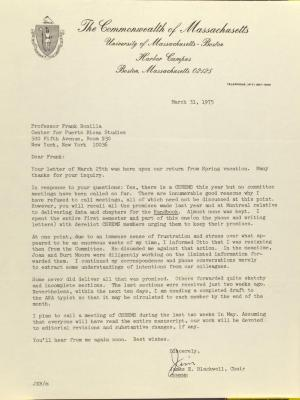 Correspondence from the University of Massachusetts - Boston