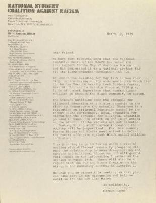 Correspondence from National Student Coalition Against Racism of Columbia University