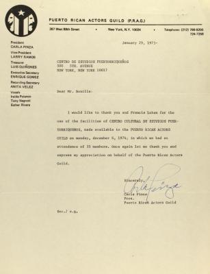 Correspondence from Puerto Rican Actors Guild