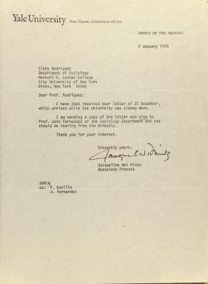 Correspondence from Yale University