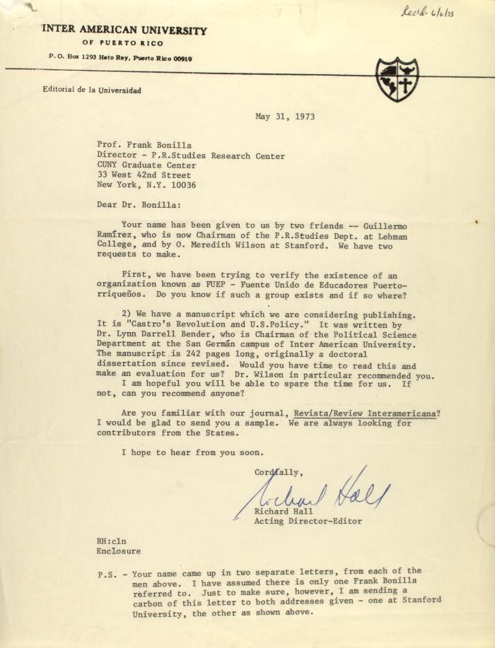 Correspondence from Inter-American University of Puerto Rico